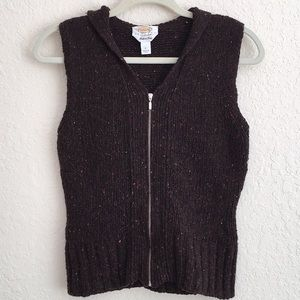 Talbots Marled Knit Wool Vest with hood. Size P.